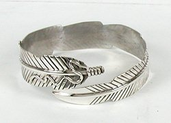Authentic Native American Sterling Silver Adjule Feather Bangle Bracelet By Navajo Ben Bee