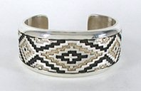Authentic Native American Sterling Silver blanket or rug pattern cuff bracelet by Navajo silversmith Dan Jackson
