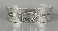 Authentic Native American Sterling Silver Tufa Cast Buffalo cuff bracelet by Navajo silversmith Darryl Dean Begay