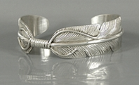 Authentic Native American Sterling Silver Feather cuff bracelet by Navajo silversmith Vivian Jones