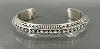 Authentic Native American Sterling Silver Stamped bracelet by Navajo Tahe Family silversmiths