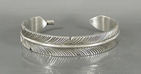 Authentic Native American Sterling Silver Feather Bracelet by Navajo silversmith Chris Charley