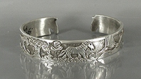 Authentic Native American Sterling Silver Storyteller Horse Bracelet by Navajo silversmith Lloyd Becenti