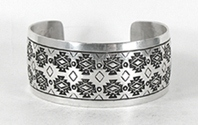 Authentic Native American Stamped Sterling Silver Bracelet by Navajo silversmith Vincent J. Platero