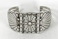 Authentic Native American Stamped Sterling Silver Bracelet by Navajo silversmith Marilyn Joe