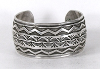 Authentic Native American Stamped Sterling Silver Bracelet by Navajo silversmith Lester Craig