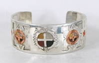 Authentic Native American Sterling Silver Overlay Bracelet by Lakota silversmith Mitchell Zephier