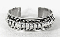 Authentic Native American Sterling Silver Bracelet by Navajo silversmith Tommie  Charley