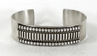 Authentic Native American Sterling Silver bracelet by Navajo Tahe Family silversmiths