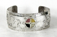Authentic Native American German Silver Overlay 4-directions animal spirit Bracelet by Lakota silversmith Mitchell Zephier