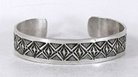Authentic Native American Stamped Sterling Silver Bracelet by Navajo silversmith Freddie Maloney