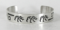 Authentic Native American Sterling Silver Walking Bear Bracelet by Navajo silversmith Sharon Cisco