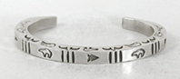 Authentic Native American Stamped Sterling Silver Bracelet by Navajo silversmith Julia Smith