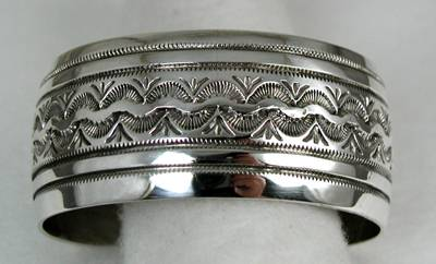 Navajo Sterling Silver Wide Cuff Bracelet By Lester Craig