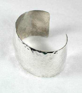 STERLING SILVER DOME CUFF BANGLE BRACELET HAMMERED FINISH 24 MM (1
