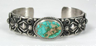 Authentic Native American Sterling Silver Pilot Mountain Turquoise  bracelet by Navajo artist Darrell Cadman