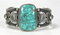 Authentic Native American Sterling Silver and Turquoise Mountain turquoise bracelet by Navajo Darrell Cadman