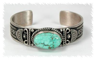 Native American Navajo Indian Jewelry Sterling Silver Turquoise Bracelet