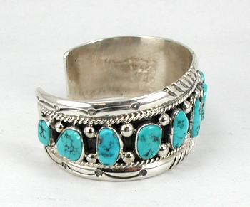 Tommy Moore Navajo Turquoise And Sterling Silver Bracelet Native American