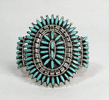 Native american turquoise needlepoint bracelet sterling for How to make american indian jewelry