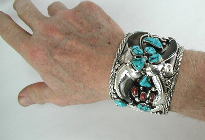 Hand Made Native American Indian Jewelry Navajo Sterling Silver Bear Claw Bracelet