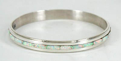 Authentic Native American Navajo Sterling Silver And Opal Inlay Bangle Bracelet By Wilbur Musket
