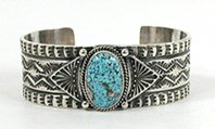 Authentic Native American Sterling Silver turquoise bracelet by Navajo Sunshine Reeves