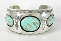 Authentic Native American sterling silver #8 Turquoise Shadowbox bracelet by Navajo Wilbur Muskett