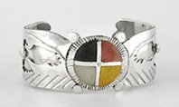 Authentic Native American Four Colors Medicine Wheel Shield and Overlay Eagles Bracelet by Lakota Mitchell Zephier