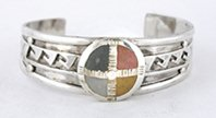 Authentic Native American Four Colors Medicine Wheel Shield and Overlay Medicine Wheel Bracelet by Lakota Mitchell Zephier