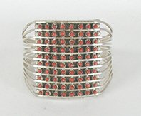 Authentic Native American sterling silver Coral Snake Eye bracelet by Zuni Susie Livingston