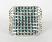 Authentic Native American sterling silver Turquoise Snake Eye bracelet by Zuni Susie Livingston