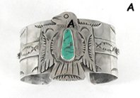 Authentic Native American sterling silver Turquoise Eagle bracelet by Navajo Fred Begay
