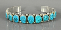 Authentic Native American sterling silver #8 Turquoise Shadowbox bracelet by Navajo Wilbur Musket