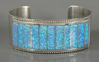 Authentic Native American Sterling Silver Opal Bracelet by Zuni Emery Lalacita