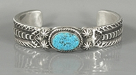 Authentic Native American sterling silver Kingman Turquoise bracelet by Navajo Elvira Bill