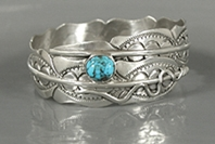 Authentic Native American sterling silver Turquoise Feather Bangle Bracelet by Navajo Ben Begaye