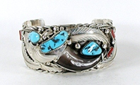 Authentic Native American Sterling Silver claw, turquoise and coral Bracelet by Navajo silversmith Elaine Sam