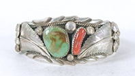 Authentic Native American sterling silver Turquoise and Coral Bracelet by Navajo Lester Craig