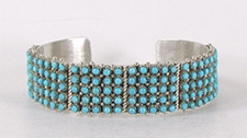 Authentic Native American sterling silver Turquoise Snake Eye Bracelet by Zuni Peter Haloo III