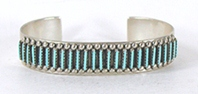Authentic Native American sterling silver Turquoise Needlepoint Bracelet by Zuni Amelio and Veronica Nastacio