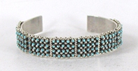 Authentic Native American sterling silver Turquoise Snake Eye Bracelet by Zuni Jason Amesoli