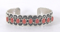 Authentic Native American sterling silver Coral Bracelet by Navajo Tilly Jon