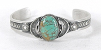 Authentic Native American sterling silver Turquoise  Bracelet by Navajo Linberg & Eva Billah