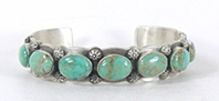 Hand made Native American Indian Jewelry; Navajo Sterling Silver Bear Claw and Turquoise bracelet