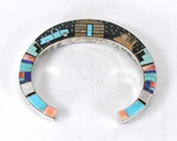Authentic Native American sterling silver Double-sided Inlay Bracelet by Navajo Merle House