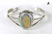 Authentic Native American sterling silver Sterling Opal  Bracelet by Navajo Marie Bahe