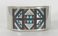 Authentic Native American sterling silver Multi-stone Inlay Bracelet by Zuni Leander & Lisa Othole