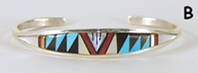 Authentic Native American sterling silver Multi-stone Inlay Bracelet by Zuni Rickell & Lynette Booqua