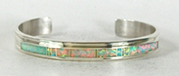 Authentic Native American sterling silver Opal Inlay Bracelet by Navajo Thomas Francisco